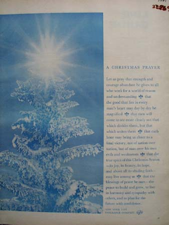 N Y Life Ins Christmas Prayer 1961