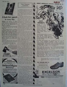 Excelsior Shoes And Davy Crockett Ad 1929