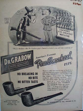 Dr Grabow Pipe No Breaking In Ad 1945
