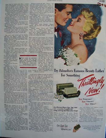 Palmolive Soap Thrillingly New Ad 1949