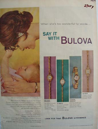 Bulova Watch Mother And Baby Ad 1959