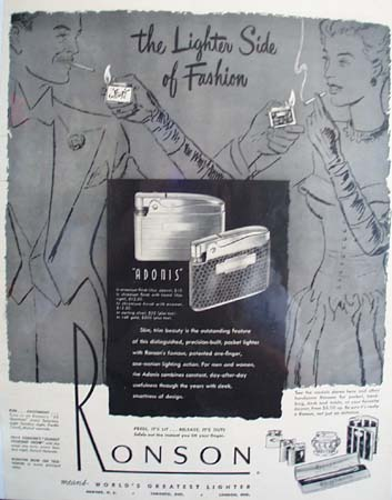 Ronson Lighter The Lighter Side Of Fashion Ad 1949