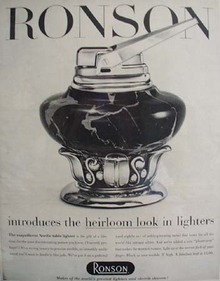 Ronson Lighter Heirloom Look Ad 1956