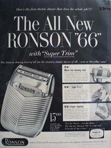 Ronson Shaver  New Ronson 66 Ad 1956
