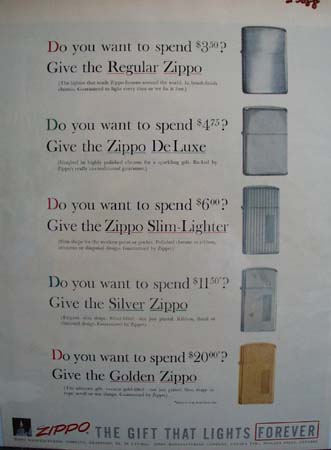 Zippo Lighter Christmas Ad 1957