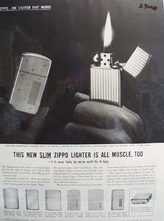 Zippo Lighter All Muscle Too Ad 1959