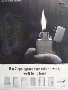 Zippo Lighter Hand Holding Lighter In Dark Ad 1960