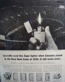 Zippo Lighter Rose Bowl Game of 1934 ad 1961