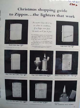 Zippo Lighter Christmas Ad Early 1960's