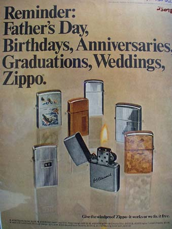 Zippo Lighter Fathers Day Birthday Ad 1962