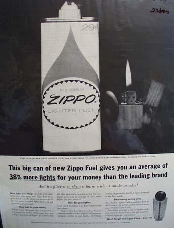 Zippo Lighter Fuel Ad 1963