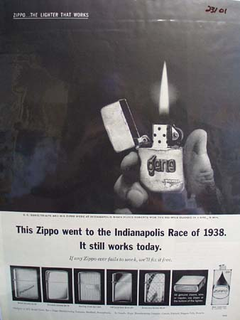 Zippo Lighter To Indianapolis Race 1938 Ad 1963