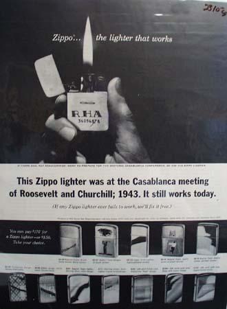 Zippo Lighter At Casablanca Meeting in 1943 Ad 1964