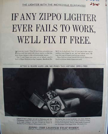 Zippo Lighter Incredible Guarantee Ad 1965