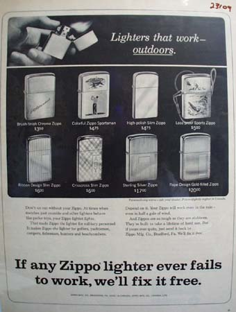 Zippo Lighters that Work Outdoors Ad 1966