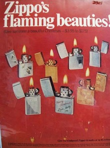 Zippo Lighter Flaming Beauties Christmas Ad Late 1960's
