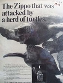 Zippo Lighter Attacked By Herd Of Turtles Ad 1969