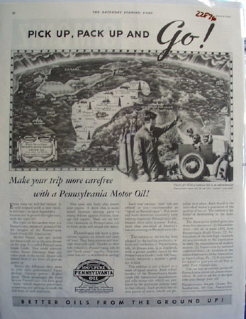 Pennsylvania Motor oil Ad 1934