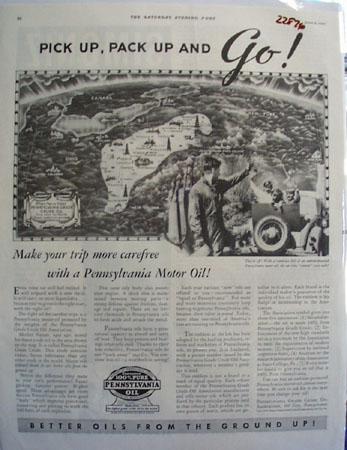 Pennsylvania Motor oil Ad 1934