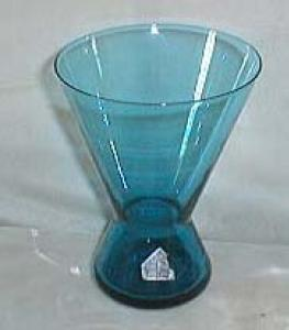 Morgantown Peacock blue glass vase