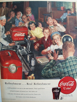 Coca Cola Teen Teenagers At Soda Fountain Ad 1950