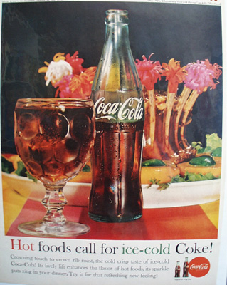 Coca Cola And Rib Roast Ad 1961