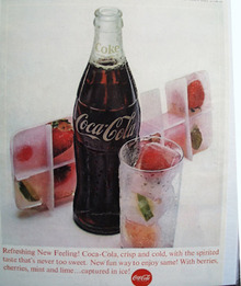 Coca Cola And Berries In Ice Cube Tray Ad 1963