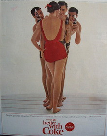 Coca Cola And Lady In Red Bathing Suit Ad 1964