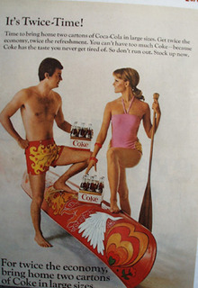 Coca Cola And Couple With Canoe Ad 1968