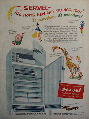 Servel Refrigerator New And Silent Ad 1951