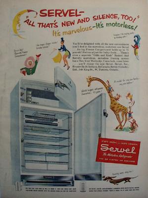 Servel Refrigerator New And Silent Ad 1951