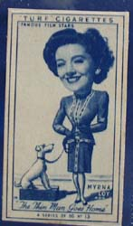 1949 Characture Myrna Loy movie card