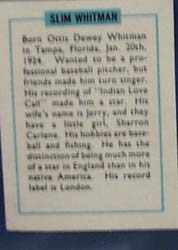 Slim Whitman Record Label card, 1950s
