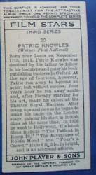 Patrick Knowles Film Stars Movie Card,