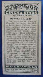 Dolores Costello Film Stars Movie Card