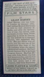 Lilian Harvey Film Stars Movie Card