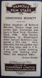 Constance Bennett Famous Film Star Card 1935