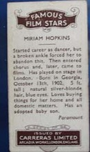 Miriam Hopkins Famous Film Star Card 1935