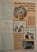 Heinz Baby Foods Baby Wearing Chefs Hat Ad 1952