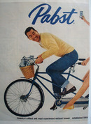 Pabst Beer Couple On Bicycle Ad  1958