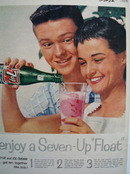 Seven Up Boy And Girl With Seven Up Float Ad 1958