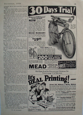 Mead Cycle 200 Rider Agents Wanted Ad 1934