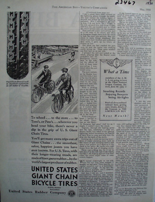 U S Chain Bike Tires To School Ad 1930