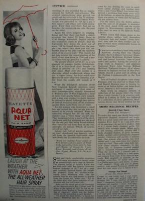 Aqua Net Hair Spray Woman With Umbrella Ad 1964