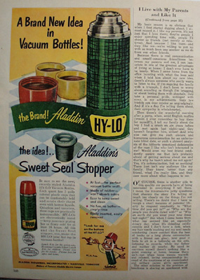 Aladdin Vacuum Bottle New Idea Ad 1951