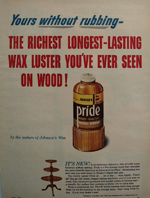 Pride Furniture Wax Yours Without Rubbing Ad 1951