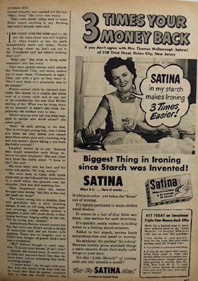 Satina  3 Times Your Money Back Ad 1950