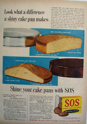 S O S Difference In Shiny Cake Pan Ad 1954