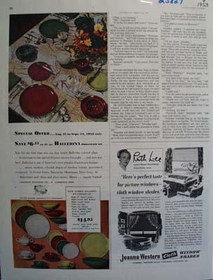 Ballerina Dinnerware Special Offer Ad 1953