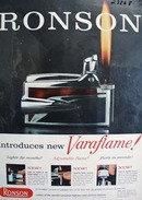 Ronson Cigarette Lighter New Varaflame Ad 1958